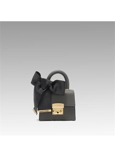Black Ribbon Kilitli Mini Çanta Gri